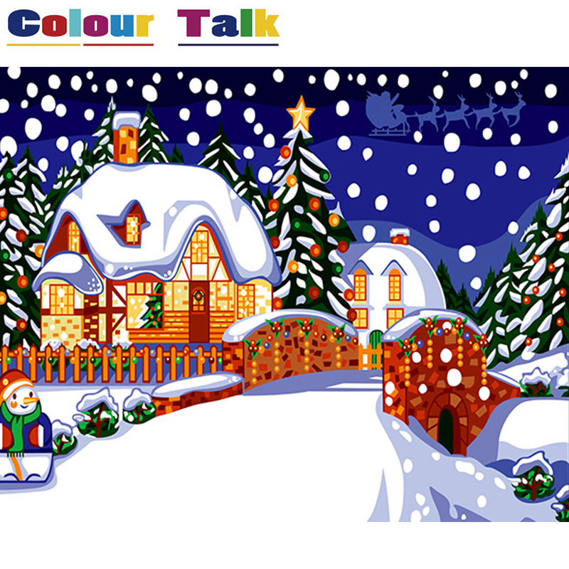 Painting & Calligraphy Home & Garden Intellective Oil Painting By Numbers Christmas Eve Handpainted On Canvas Diy Wall Art Snow Pictures By Numbers For Home Decor Poster P-0358