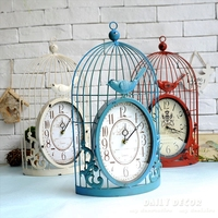 8 inch Mute vintage metal birdcage antique time wall clock relogio de parede decorative old wall mounted clock reloj de pared