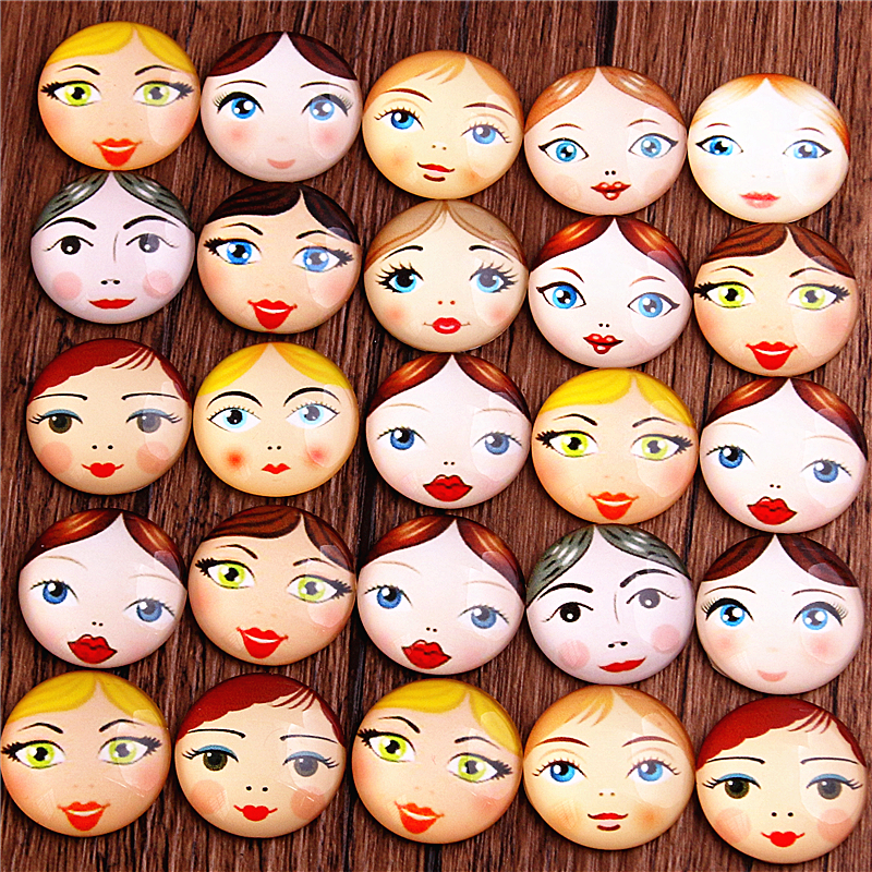 PULCHRITUDE 6pcs Mix Beautiful Girl Pattern Round Glass Cabochon 20mm 25mm Dome Flat Back DIY Jewelry Finding T6452