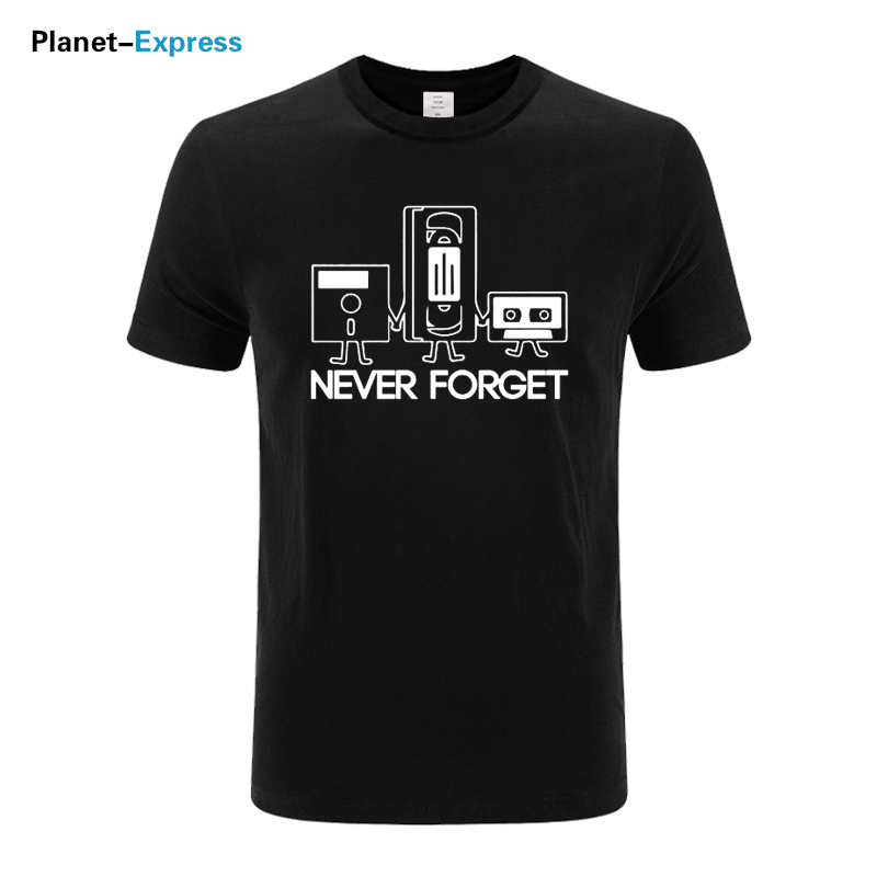 Fashion T-shirts Men Short Sleeve Never Forget Floppy Disc VHS Cassette Tech Geek Print T Shirts Male Cotton Tops Plus Size