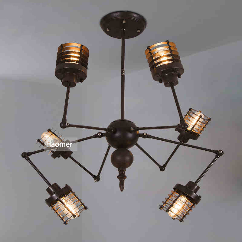 Wrought Iron Country Loft Style DIY Modeling Spider Chandelier Creative Industrial Cafe Bar Restaurant Studio Droplight In Pendant Lights From