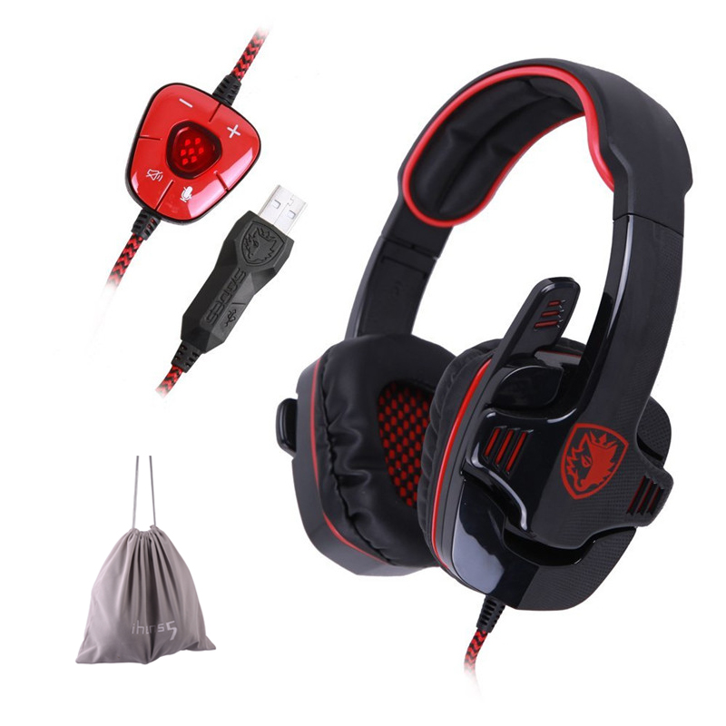 SADES SA901 Over Ear USB Wired 7.1 Surround Noise Cancelling PC Gaming Headset with Microphone for PC computer Gamer sades sa 901 computer gaming headphones usb 7 1 surround stereo game earphone deep bass headset with microphone mic for pc gamer