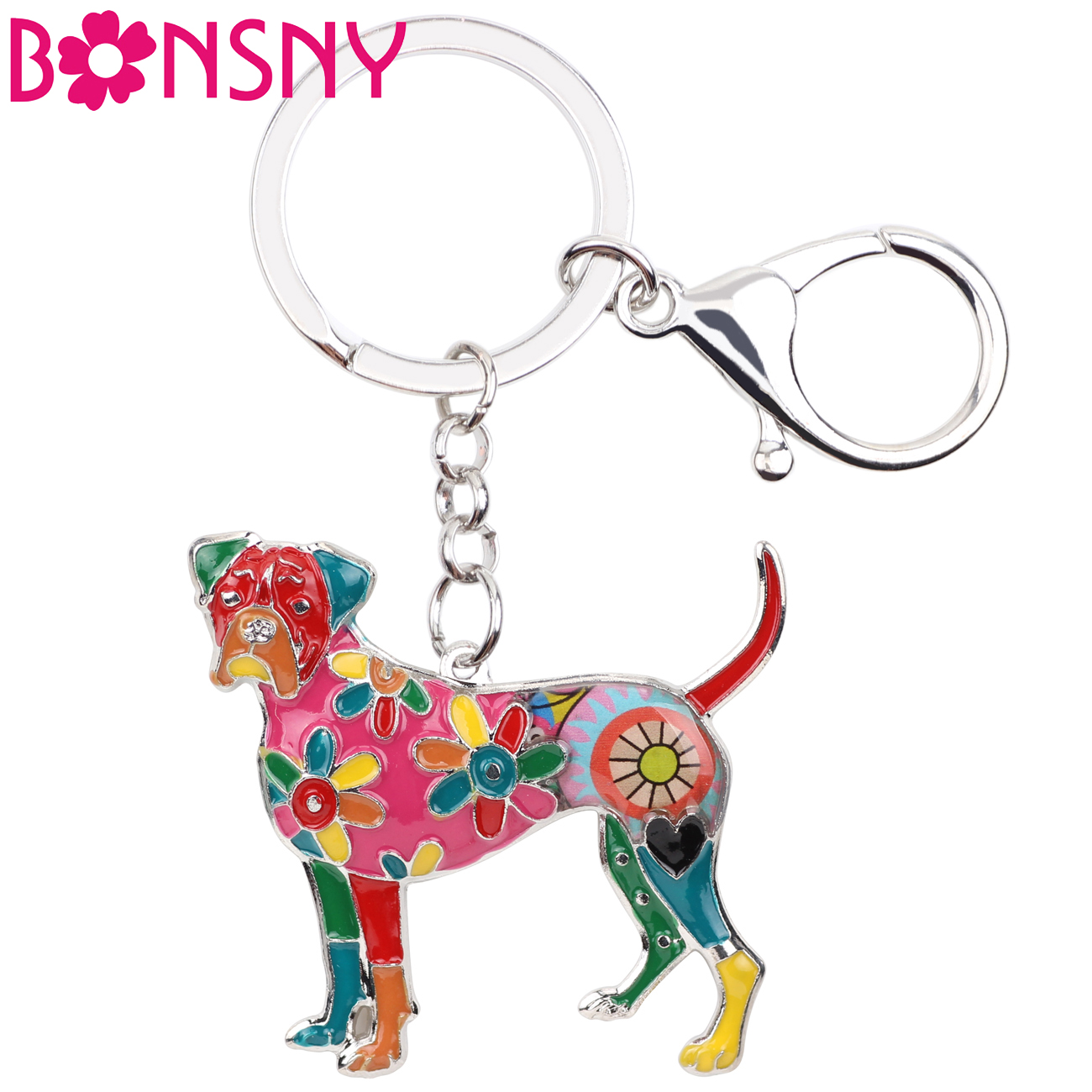 Bonsny Enamel Alloy Boxer Dog Key Chain Key Ring Fashion Jewelry For Women Keychain Souvenir Accessories Handbag Bag Charm