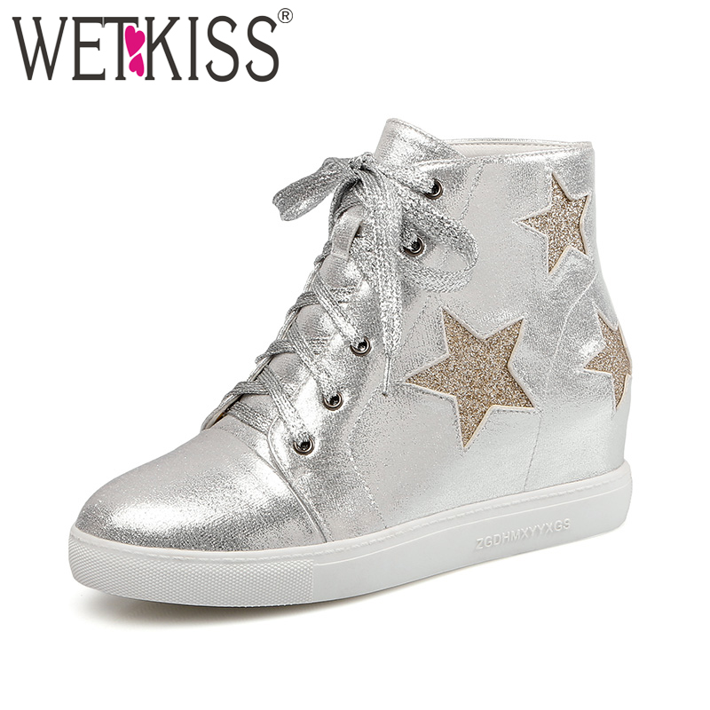 цены WETKISS Big Size 34-43 Woman Casual Ankle Boot Lace up Height Increasing Shoes Women Platform Flat Lady Boot Girls Footwear