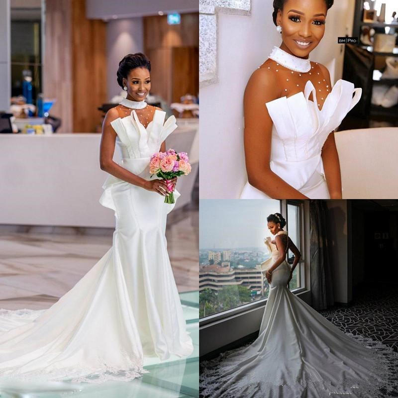 2019 African Mermaid Wedding Dresses High Neck Pearls Sweep Train Long Country Wedding Dress Custom Plus Size Beach Bridal Gowns