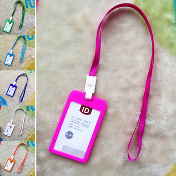 Name Credit Card Holders With Lanyard Bank Card Neck Strap Card Bus ID Holders Candy Colors Identity Badge For Women Men tanie i dobre opinie KOQZM CN (pochodzenie) ID Name Card Holder Other