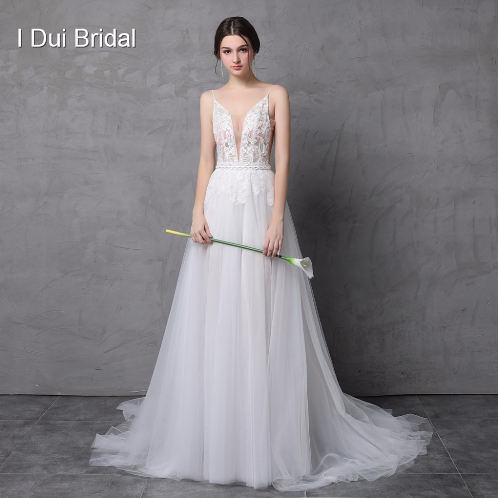Removable Wedding Gown Dress: Light Beach Wedding Dress With Detachable Skirt Illusion