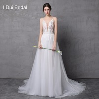 Light Beach Wedding Dress with Detachable Skirt Illusion Tulle Layer Beach Bridal Gown