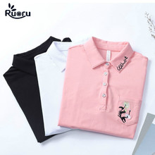 Ruoru M - 4XL Cotton Floral Printed Polo Women Shirt  Harajuku Fashion Slim Pink Black White Long Sleeve