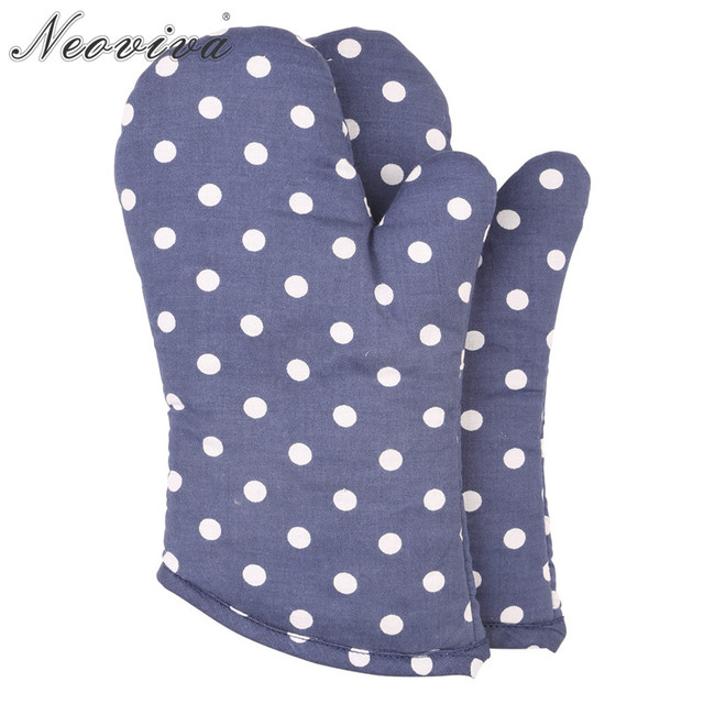 Neoviva Cotton Spots Fabric Quilting Oven Mitts For Children Set Of 2 Polka Dots Crown Blue Microwave Cute Gloves Grill Barbecue