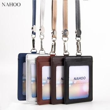 цена на NAHOO Lanyard Id Badge Clip Name Label Plastic Badge Leather Card Holder Vertical Credit Card Bus Card Holder Office Supplies