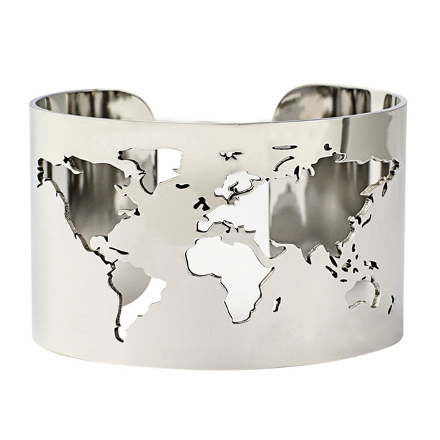 World Map Cut Out Cuff Bangle Bracelet Travel Peace Jewelry Stainless Steel 40mm Wide Laser