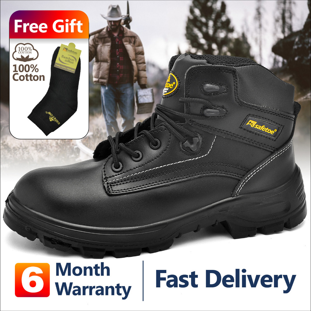 Safetoe Mens Work Safety Boots Anti-static Metal-free Composite Toe Steel Plate Breathable Anti-abrasion Boots