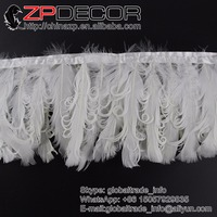ZPDECOR 15 20cm 2yards Lot Beautiful Unique White Curly Goose Feather Trimming For Wedding Dress Feather