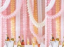 Hanging Garland Four-Leaf Clover Banner Paper Flowers Tissue Wedding Party Decor Christmas decoration 3.6m Reusable 21color