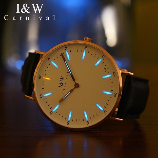 Carnival T25 Tritium Luminous Watch Men Ultra-Thin Mens Watches Top Brand Luxury Wristwatch Leather Strap Xfcs relogio masculino