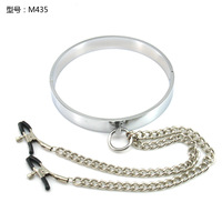 Men's stainless steel metal sexy collar ring with breast clip nipple clamps sex toy fun fetish Bondage sex adult collars leash