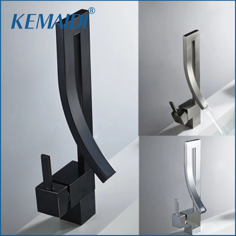 KEMAIDI Black Brass Basin Faucet Single Handle Waterfall Basin Mixer Tap Hot & Cold Bathroom Faucets Sink Waterfall Faucet Drain