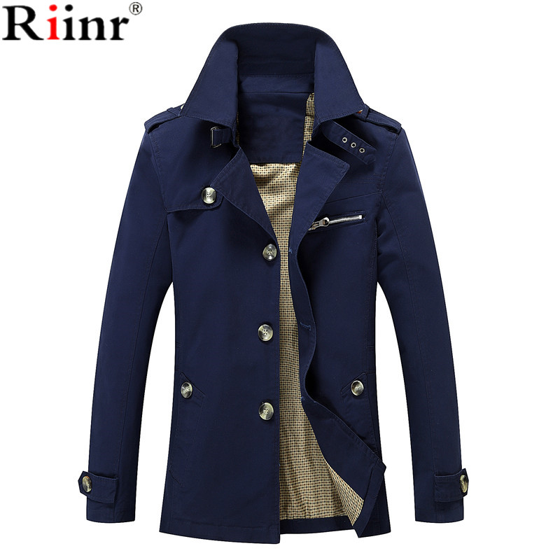 Riinr Män Jacka Coat Lång Sektion Mode Trench Coat Jaqueta Man - Herrkläder - Foto 4