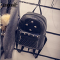Hot Women Backpack Leather Small Shoulder Bags Rivet Small Girls Schoolbags Durable College Student Mini Bagpack Brand Mochila