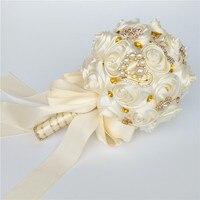Marfim Ivory Satin Roses Foam Ball Wedding Bouquet ramos de novia Gold Crystal Jewelry Bridal Artificial Holding Flowers AW0168