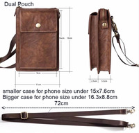 Dual Pouch Leather Shoulder Belt Mobile Phone Case For IPhone X Oukitel C5 U7 Max K6000