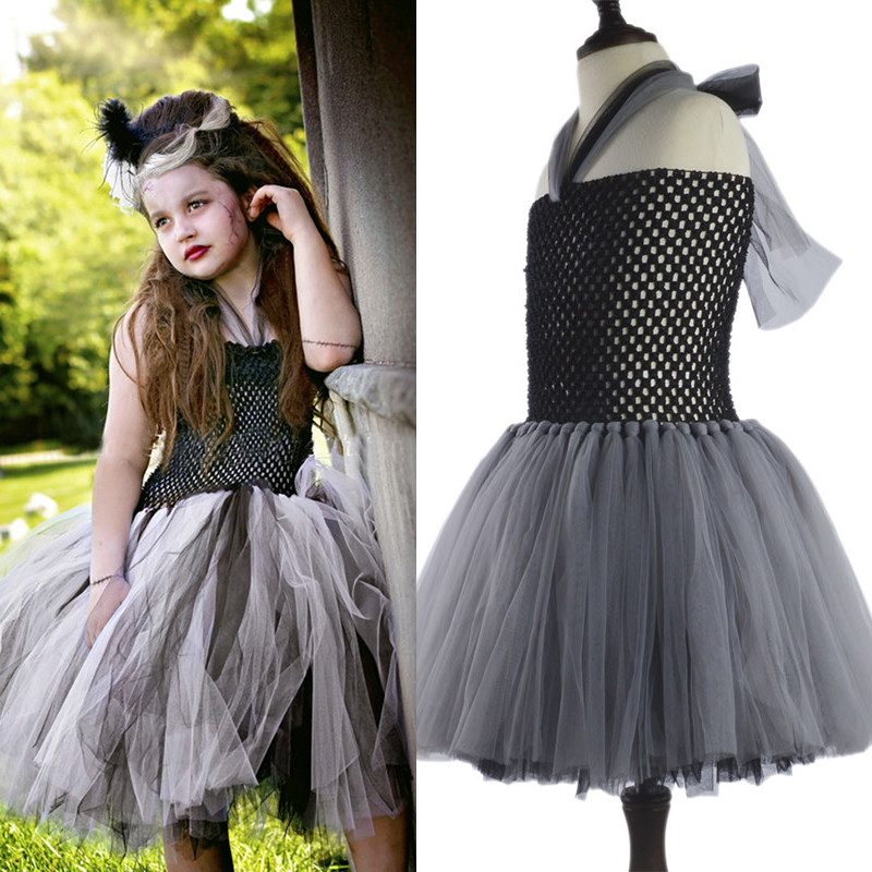 Children Girls Bride Halloween Mesh Tutu Dress Girls Patchwork Halloween Costume Party Pageant Show Cosplay Gown Dress Cloth