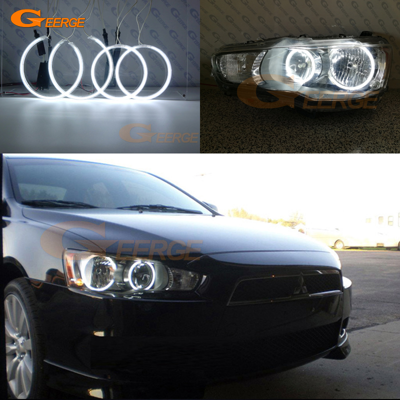 Pour phare halogène Mitsubishi Lancer 2008-2015 Excellente illumination ultra brillante Kit Angel Eyes CCFL Halo Ring