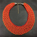 braid red beads necklace