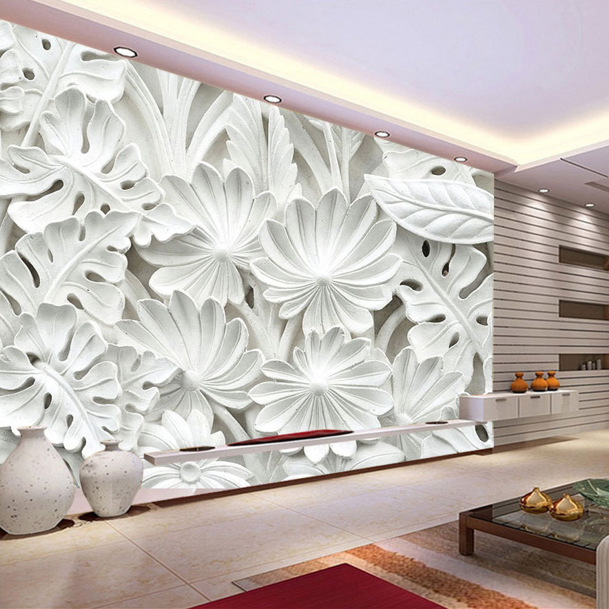 3d Relief White Banana Leaf Wallpaper Murals for Living Room Sofa Background 3d Wall Mural 3d Flower Wall paper 10m victorian country style 3d flower wallpaper background for kids room mural rolls wallpapers for livingroom wall paper decal