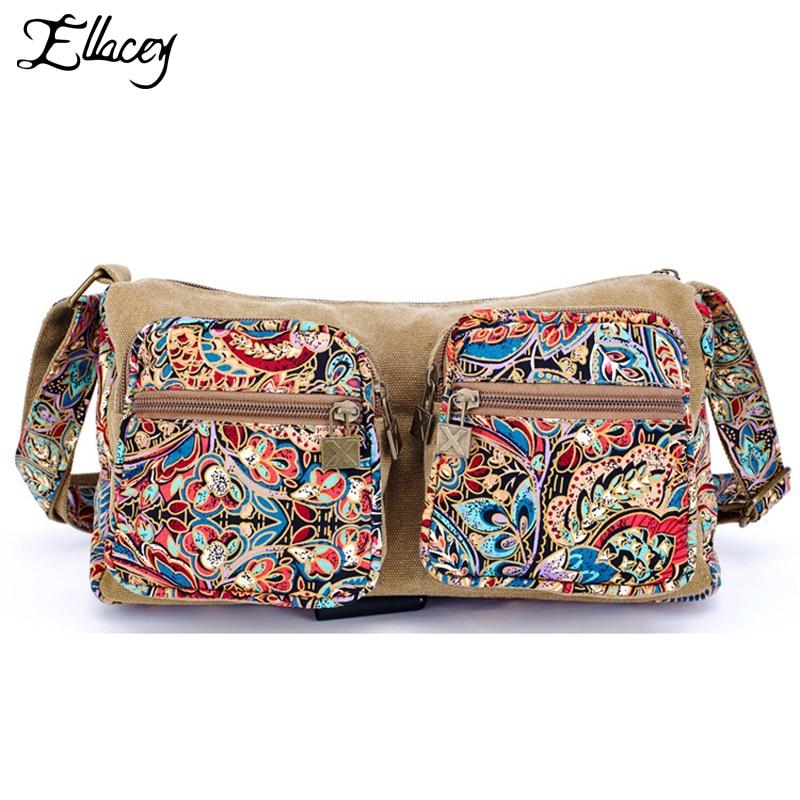 2016 Ethnic Style Printed Canvas shoulder bag Design Women Messenger Bag With Print Vintage Women Crossbody Bag Shoulder Bag spring of women s shoulder bag with canvas belt and studs design