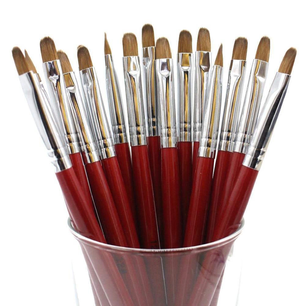 Eval Double Heads Kolinsky Sable Nail Brush 2 Way Acrylic Art Builder Set Kit DIY Tools Gel acrylic
