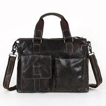 Promotion Genuine Leather Men bag Vintage Oil Wax men's briefcase shoulder bag men messenger bags men's travel bags #VP-M260