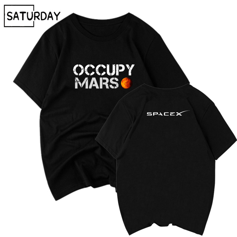 Men's Space X T Shirt Tesla Tees Casual Top Design Occupy Mars 100% Cotton Tee SHIRT Spacex Graphic Tees Men