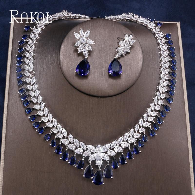 Style bohème complet cubique zircone Double couleurs cristal collier chaîne boucle d'oreille 2 Pca ensemble pour les femmes robe dîner bijoux accessoire
