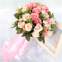 2018 New Pink/Red Wedding Flowers Handmade Flower Rose Bouquet Bridal Bouquet for Wedding Decoration Elegant Bouquet de mariage