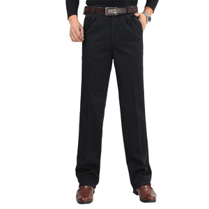 Image 5 - Inverno dos homens de lã engrossar calças moda masculina quente calças casuais lavar roupa dupla plissado algodão solto calças retas tamanho 46