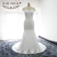 Rose Moda Off Shoulder Lace Boho Wedding Dress Mermaid Wedding Dresses with Cut Out Lace Hem Real Photos