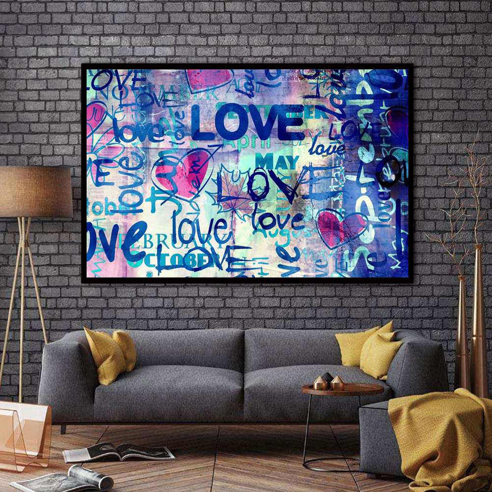 Zz2353 street art graffiti love quotes abstract oil painting on canvas poster hd print pop art wall pictures for living room