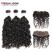 Megalook Water Wave Hair Bundles with Frontal 3pcs Peruvian Remy Human Hair Weave with Lace Front