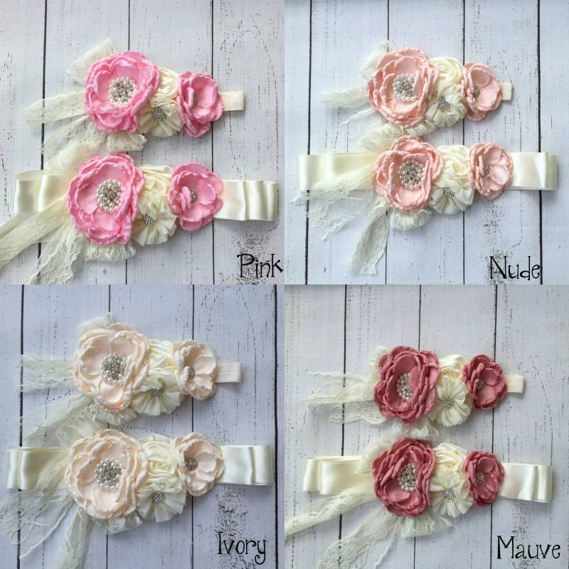цена на Chiffon Flower Sash Matching Baby Headband Satin Flower Sash Belt Flowergirl Hair Accessories