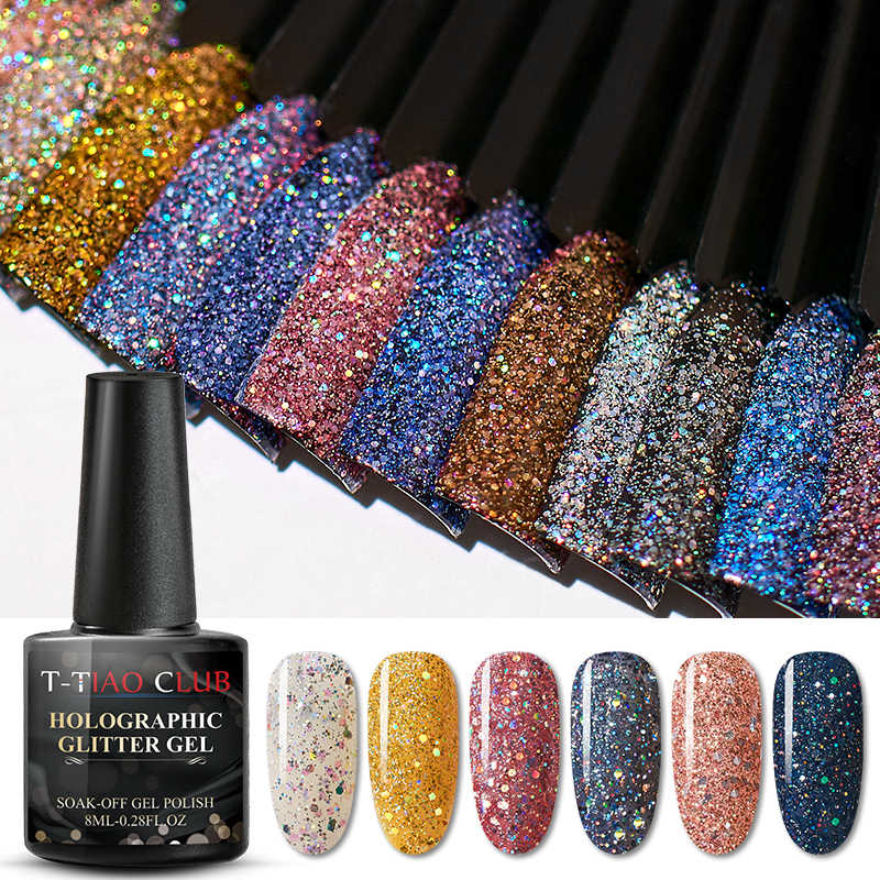 T-TIAO Club 8 Ml Warna Gel Polandia Hologram Warna-warni Glitter Payet UV Rendam Off Tahan Lama Gel Polish Nail Art pernis