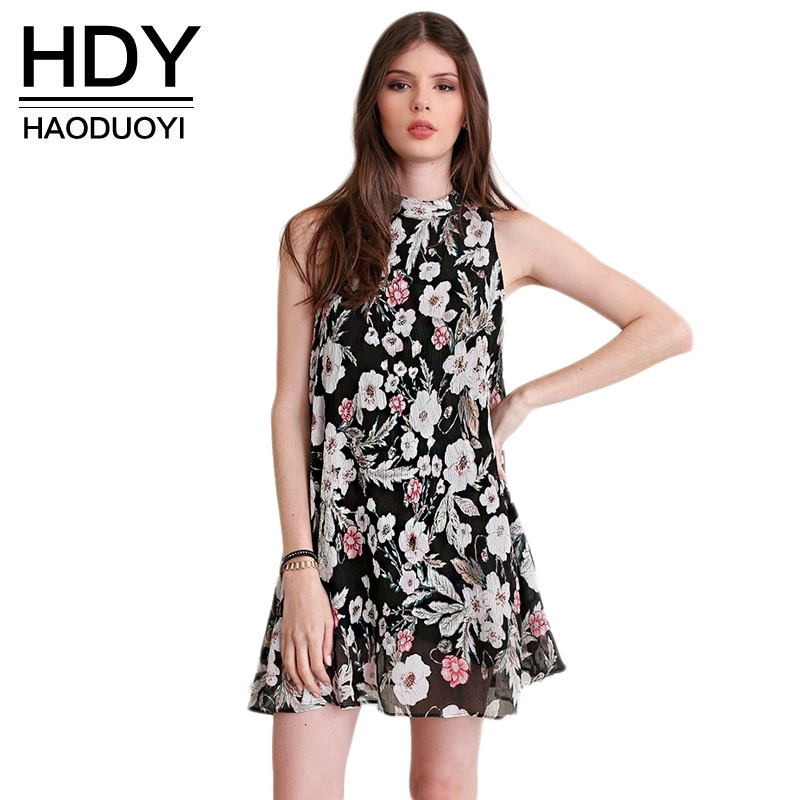 HDY Women Floral Dress Summer 2020 Sleeveless Mini Dress Bohomian Beach Dress Flower Print Women Sexy Chiffon Vestidos L Size
