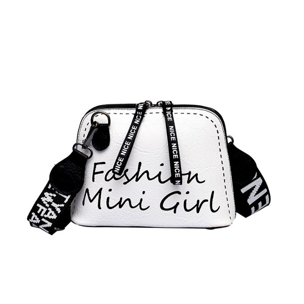 Brand Leather Women Messenger Bag High Quality Wide Shoulder Strap Small Crossbody Shell Bag Women Fashion Wild Shoulder Bag#36