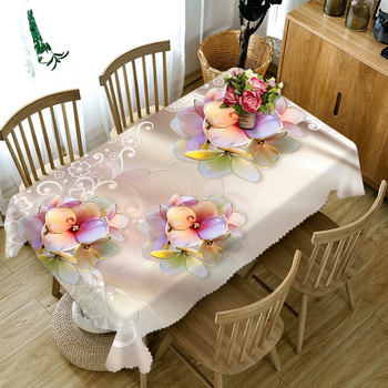 Customizable 3D Tablecloth Diamond Butterfly Flower Pattern Washable Cloth Thicken Rectangular and Round Table Cloth for Wedding 3d white lily flowers pattern tablecloth wedding decoration thicken cloth round table cloth waterproof rectangular table cover