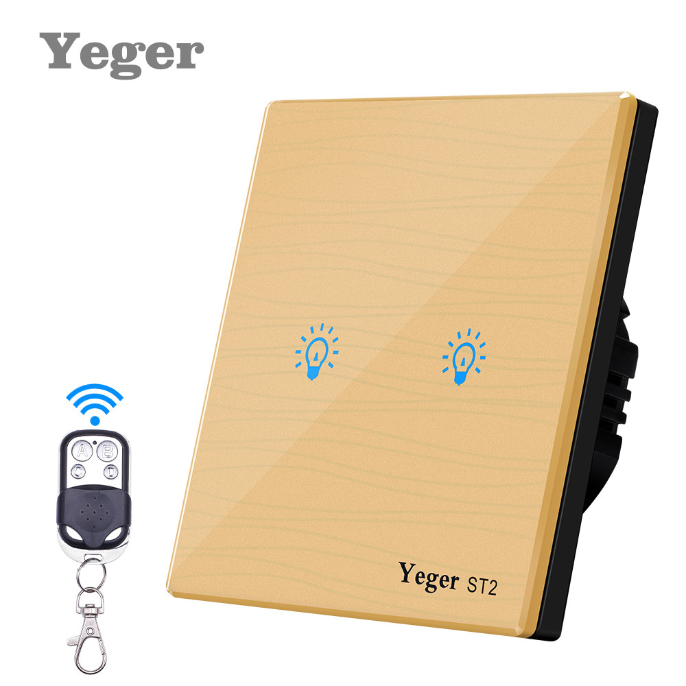 Yeger Smart Wall Switch Remote Control Switch 2 Gang 1 Way Wireless Remote Control Touch Light Switch 2 port digital wireless remote control wall switch white silver