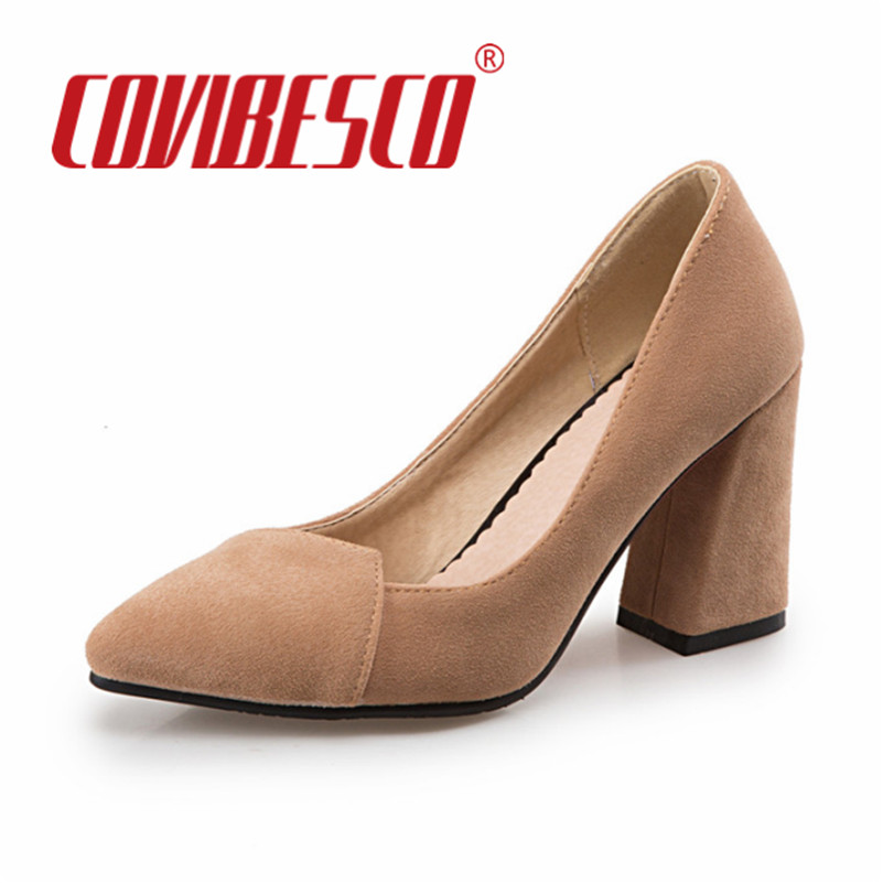 Women Shoes Thick High Heels Mother Students Lady Shoes Sexy Pointed Toe Spring Plus Size Office Pumps Black Yellow Gray Shoes meotina high heels shoes women pumps party shoes fashion thick high heels pointed toe flock ladies shoes gray plus size 10 40 43