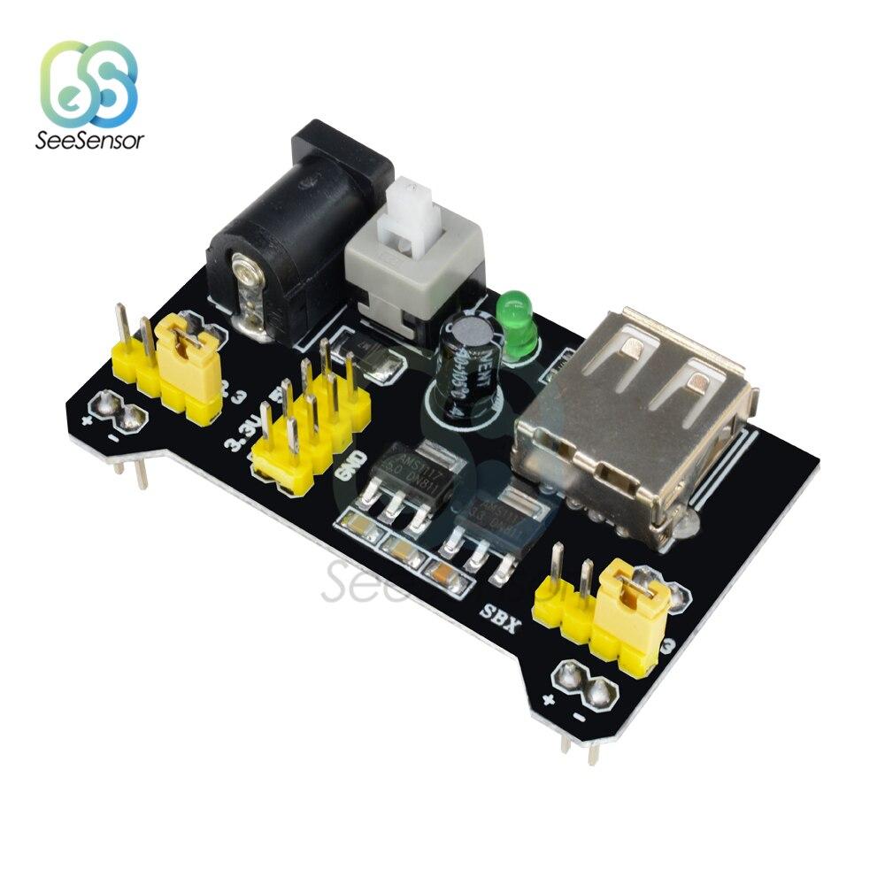 Mb102 placa de pão 3.3 v 5 v módulo de fonte de alimentação 2-way MB-102 solderless diy dedicado módulo de energia