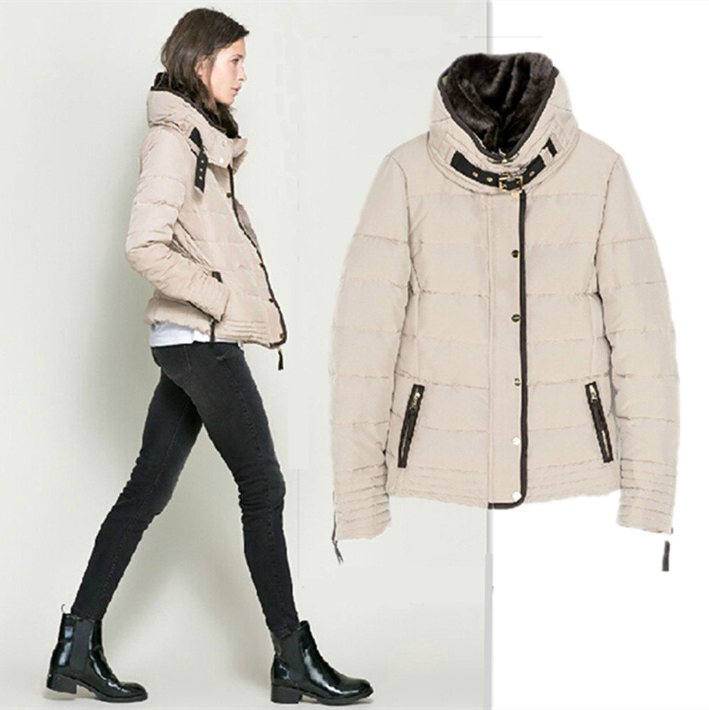 Online Shop 2014 Fashion Winter Women Sand Beige Down Parkas ...