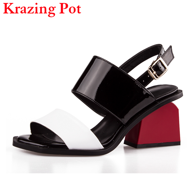 2018 New Fashion Patent Leather Peep Toe Ankle Buckle Straps Women Sandals Red High Heels Mixed Colors Slingback Causal Shoe L47 2017 superstar cow leather platform european ankle strap peep toe print mixed colors classic women increased runway sandals 0 4